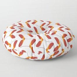 Red Japanese Maple Tree Samara Zigzag Pattern With Alternate Orientation Floor Pillow