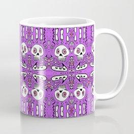 startled skulls in love purple / pink doodle Coffee Mug