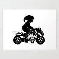 mario kart Art Prints featuring Mario Kart 8 - Master Cycle Silhouette by brit eddy