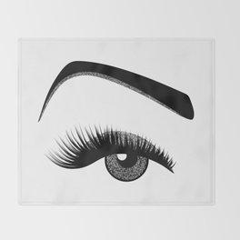 Silver eye makeup Throw Blanket