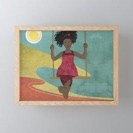 Barefoot Girl on Swing Framed Mini Art Print