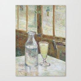 1887-Vincent van Gogh-Café table with absinth-33x46 Canvas Print