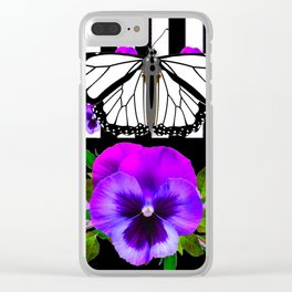 PURPLE PANSIES & WHITE MONARCH BUTTERFLY  BLACK ART Clear iPhone Case