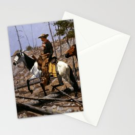 """Frederic Remington Western Art """"Prospecting for Cattle Range"""" Stationery Cards"""