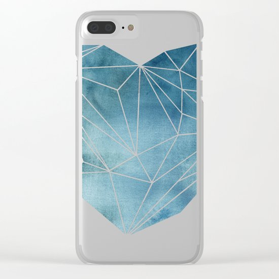 Heart Graphic Watercolor Blue Clear iPhone Case