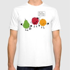 Like Apples and Oranges SMALL White Mens Fitted Tee