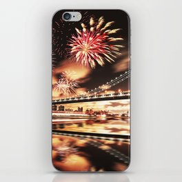 new york city with fireworks iPhone Skin