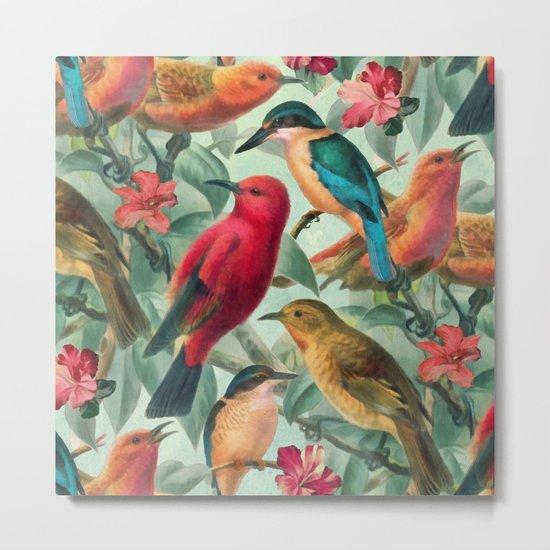 Birds in a summer garden Metal Print