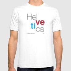 Helvetica Mens Fitted Tee MEDIUM White