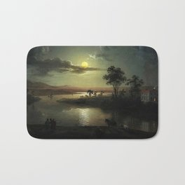 Classical Masterpiece 'Evening Scene with Full Moon & Persons' by Abraham Pether Bath Mat