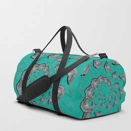 A swirl of gray butterflies on teal background Duffle Bag
