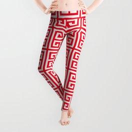 red Greek Key pattern - Greek fret design Leggings