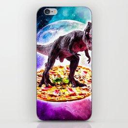 Tyrannosaurus Rex Dinosaur Riding Pizza In Space iPhone Skin