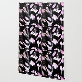 black, pink and white abstract painting Wallpaper