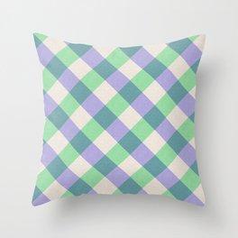 Green blue ivory violet geometric checker gingham Throw Pillow