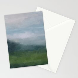 Gray Blue Navy Indigo Grass Green Abstract Painting Wall Art Prints, Nature Horizon, Modern Wall Art Stationery Cards
