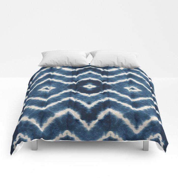 Shibori, tie dye, chevron print Comforters