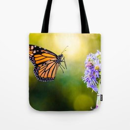 Monarch's Landing. Butterfly Photograph Tote Bag