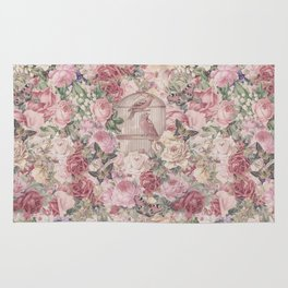 Romantic Flower Pattern And Birdcage Rug