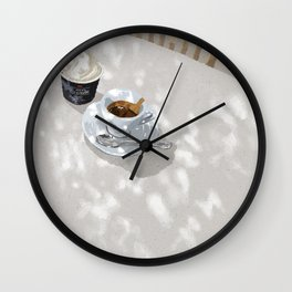 Spring Sunshine and Coffee Time Wall Clock