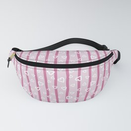 White hearts doodles on pink striped background Fanny Pack