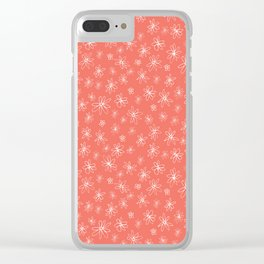 Loopy Flowers - white on coral Clear iPhone Case
