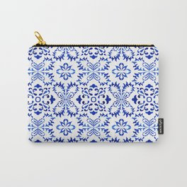 Blue and White Vintage Floral Star Snowflake Pattern Carry-All Pouch