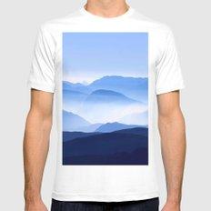 Blue Mountain Horizon White MEDIUM Mens Fitted Tee