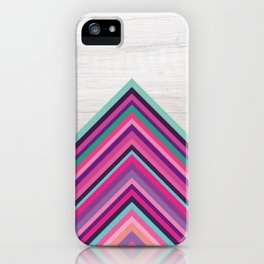 Wood and Bright Stripes, Chevron - Geometric Design iPhone Case