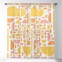 Mid Century Citrus Wedges - Multi-Colored  Sheer Curtain