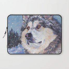 Alaskan Malamute dog portrait Fine Art Dog Painting by L.A.Shepard Laptop Sleeve
