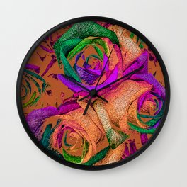 Funky Roses XII Wall Clock