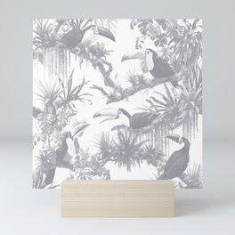 Toucans and Bromeliads - Sharkskin Grey Mini Art Print