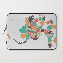 Cincinnati Ohio Map with neighborhoods and modern round shapes Laptop Sleeve
