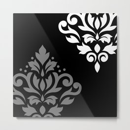 Scroll Damask Art I Black Grey White Metal Print