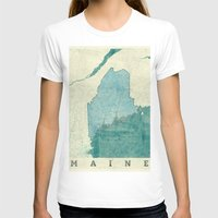 maine T-shirts featuring Maine State Map Blue Vintage by City Art Posters