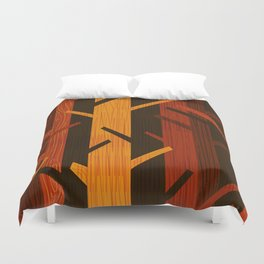 Retro Fall Woods by Friztin Duvet Cover