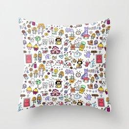 Alice in Doodleland Throw Pillow