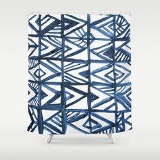 Geometric Indigo Shower Curtain