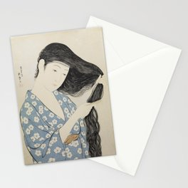 Hashiguchi Goyo: Woman Combing Her Hair Japanese Woodblock Print Blue Floral Kimono Black Hair Stationery Cards
