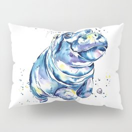 Hippo Colorful Watercolor Hippo Painting - Grace Pillow Sham