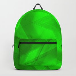 Scalding triangular strokes of intersecting sharp lines with green triangles and a star. Backpack
