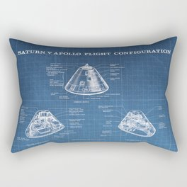 Apollo 11 Saturn V Command Module Blueprint in High Resolution (light blue) Rectangular Pillow