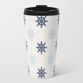 Nautical Blue Ships Wheel Pattern Travel Mug