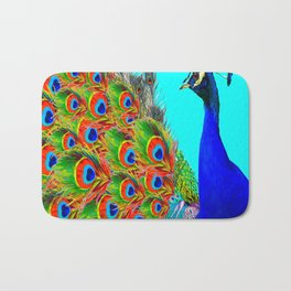 BLUE PEACOCK TURQUOISE ART ABSTRACT Bath Mat