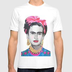 Frida Kahlo by Paola Gonzalez White MEDIUM Mens Fitted Tee