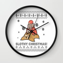 official naping shirt pajama slothy christmas Wall Clock