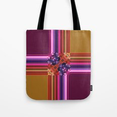 Purplish-Red and Gold Colorblock Abstract Tote Bag