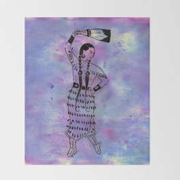 Idle No More  (Cree jingle dancer with feather fan) Throw Blanket
