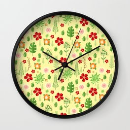 Tropical yellow red green modern floral pattern Wall Clock